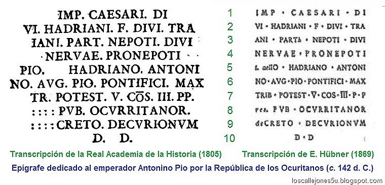 Epígrafe de Antonino Pío (RAH y Hübner)